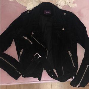 Vigoss genuine leather suede biker jacket
